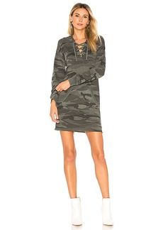 Splendid Camo Lace Up Hoodie Dress