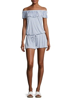 Splendid Chambray All Day Off-the-Shoulder Striped Coverup Romper