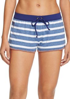 Splendid Chambray Cottage Stripe Swim Cover-Up Shorts