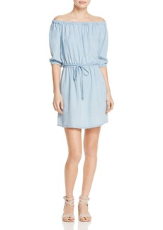 Splendid Chambray Drawstring Waist Dress
