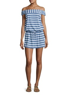 Splendid Cottage Off-the-Shoulder Striped Chambray Coverup Dress