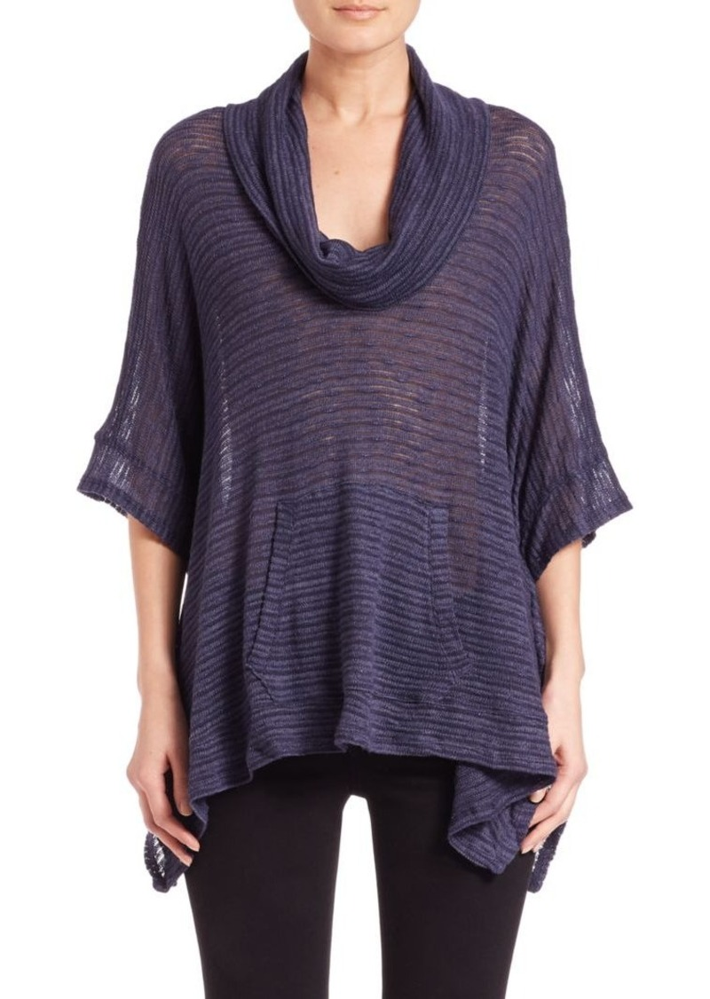 Splendid Cowlneck Sheer-Stripe Poncho Top