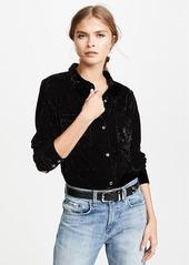 Splendid Crushed Velvet Button Down Shirt
