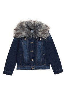 Splendid Denim Jacket with Removable Faux Fur Collar (Toddler Girls & Little Girls)