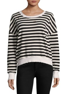 Distressed Stripe Sweatshirt
