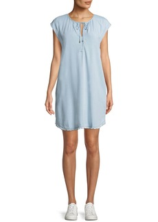 Dropped-Shoulder Frayed Shirtdress