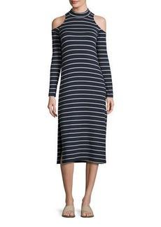 Splendid Envelope Dune Stripe Mock-Neck Cold-Shoulder Midi Dress
