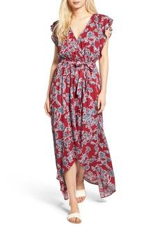 Splendid Etched Floral Faux Wrap Dress