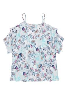 Splendid Floral Print Cold Shoulder Top (Big Girls)