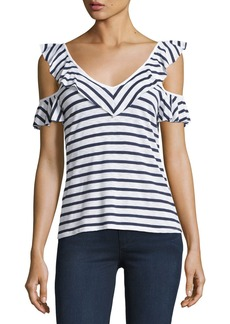 Splendid French Striped Cold-Shoulder Ruffled Top