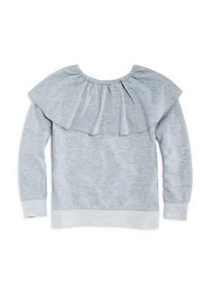 Splendid Girls' French Terry Ruffled-Neck Sweatshirt - Big Kid