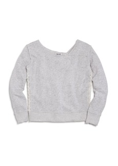 Splendid Girls' French Terry Sweatshirt with Lace Panels - Big Kid