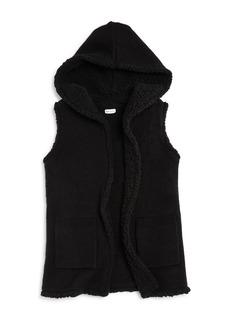 Splendid Girls' Hooded Sherpa-Lined Knit Vest - Big Kid