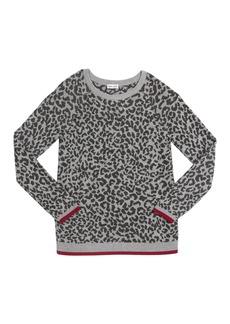 Splendid Girl's Leopard Jacquard Sweater  Size 7-14