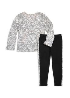 Splendid Girls' Leopard-Printed Top & Side-Stripe Leggings, Little Kid - 100% Exclusive