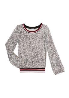 Splendid Girl's Leopard Sweater with Striped Trim  Size 7-14
