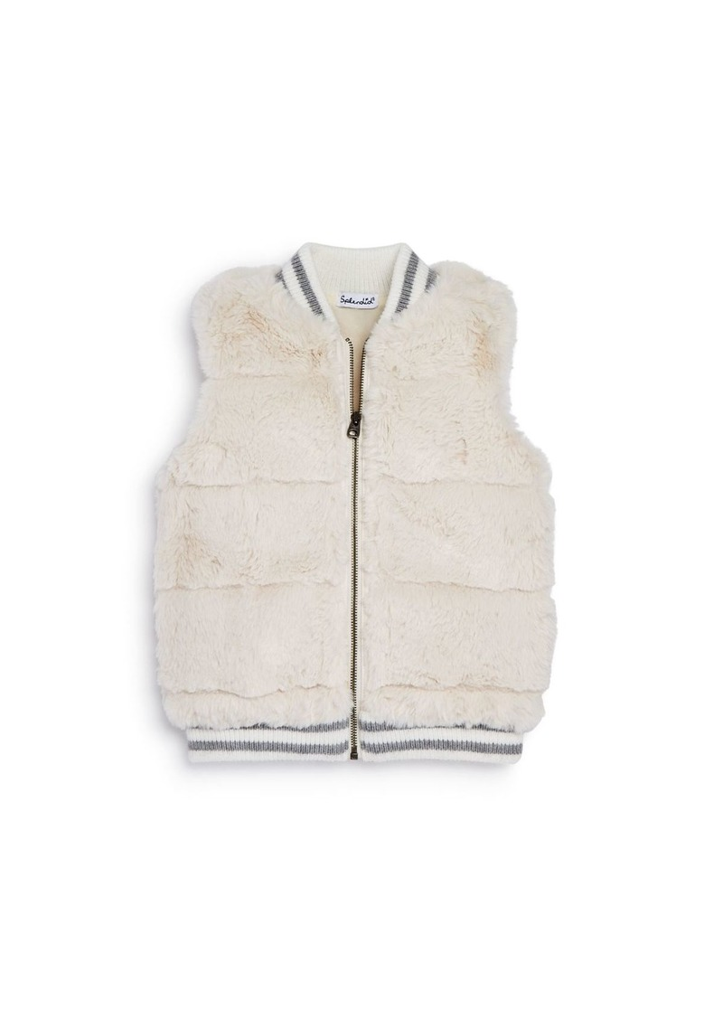 Splendid Girls' Quilted Faux Fur Vest - Big Kid