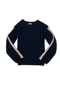 Splendid Girl's Rib Sweater with Metallic Striped Taping  Size 7-14