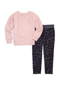 Splendid Girls' Waffle-Knit Shirt & Leopard-Print Pants Set - Little Kid, Big Kid