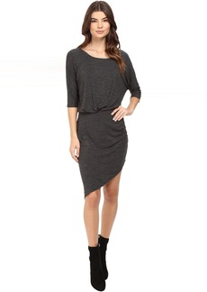 Heathered Slub Jersey Asymmetrical Hem Dress