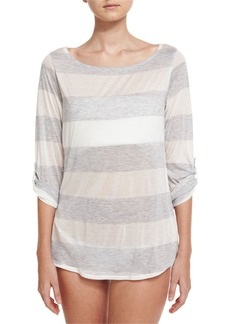 Splendid Homespun Striped Scoop-Back Coverup Tunic