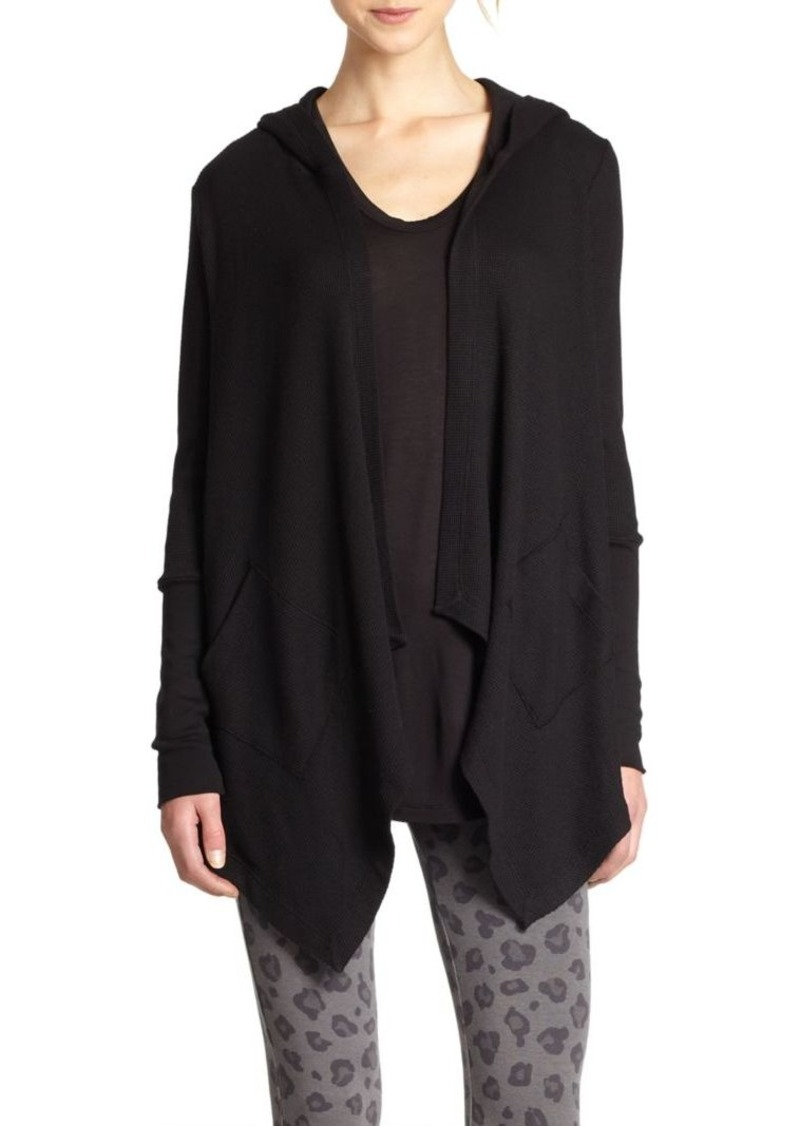 Splendid Hooded Draped Thermal Cardigan