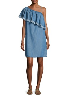 Indigo Asymmetric Fringed Chambray Dress