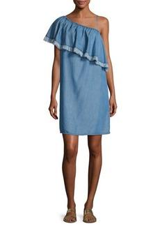 Splendid Indigo Asymmetric Fringed Chambray Dress