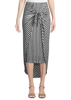 Splendid Isola Striped Sarong Midi Skirt