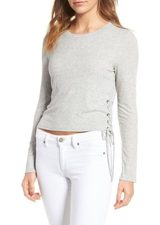 Splendid Lace-Up Ribbed Tee