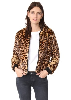 Splendid Leopard Faux Fur Bomber Jacket