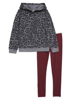 Splendid Leopard Print Hoodie & Legging Set (Toddler Girls & Little Girls)
