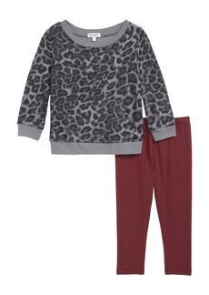 Splendid Leopard Print Sweatshirt & Leggings Set (Baby Girls)