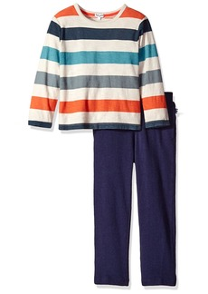 Splendid Little Boys' Long Sleeve Reverse Print Top with Pant Set