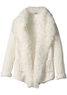 Splendid Little Girls' Faux Suede Sweater Knit Jacket Off White