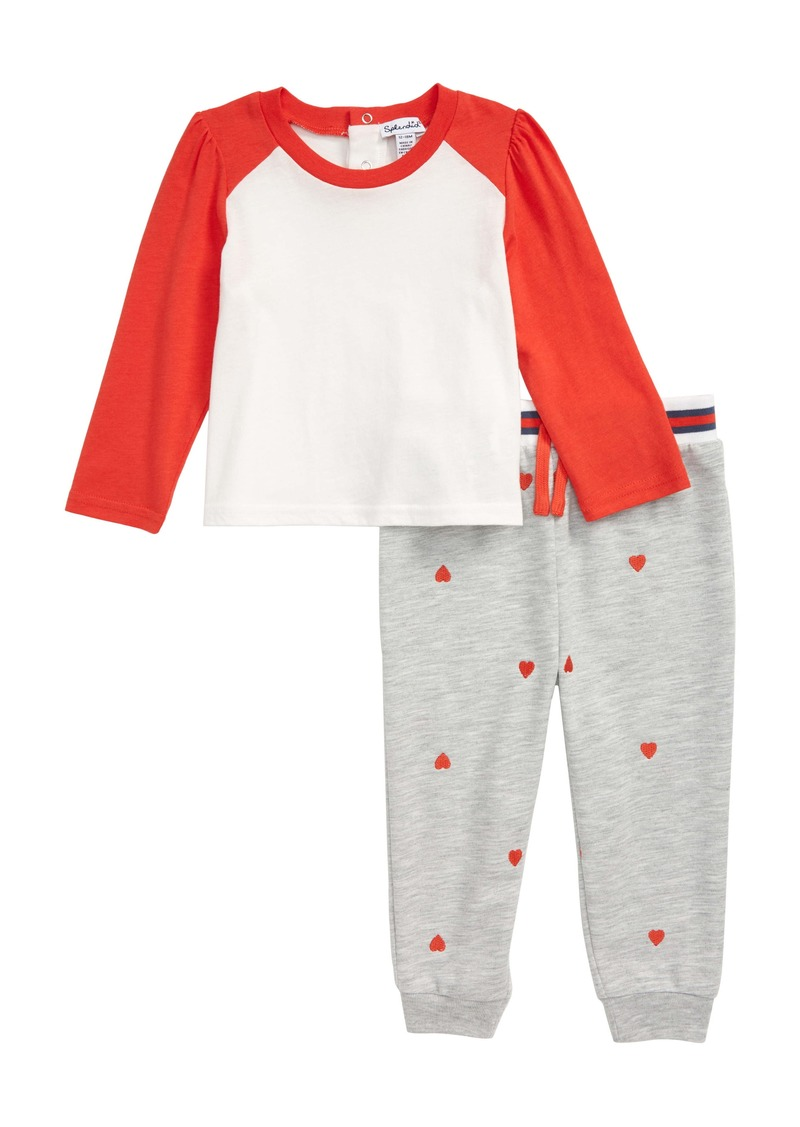 Splendid Long Sleeve Shirt & Heart Embroidered Jogger Pants Set (Baby)