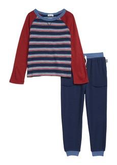 Splendid Long Sleeve Stripe Top & Sweatpants Set (Toddler Boys & Little Boys)