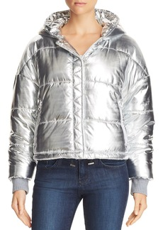 Splendid Metallic Hooded Puffer Jacket