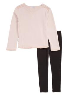 Splendid Mixed Media Sweatshirt & Leggings Set (Toddler Girls & Little Girls)