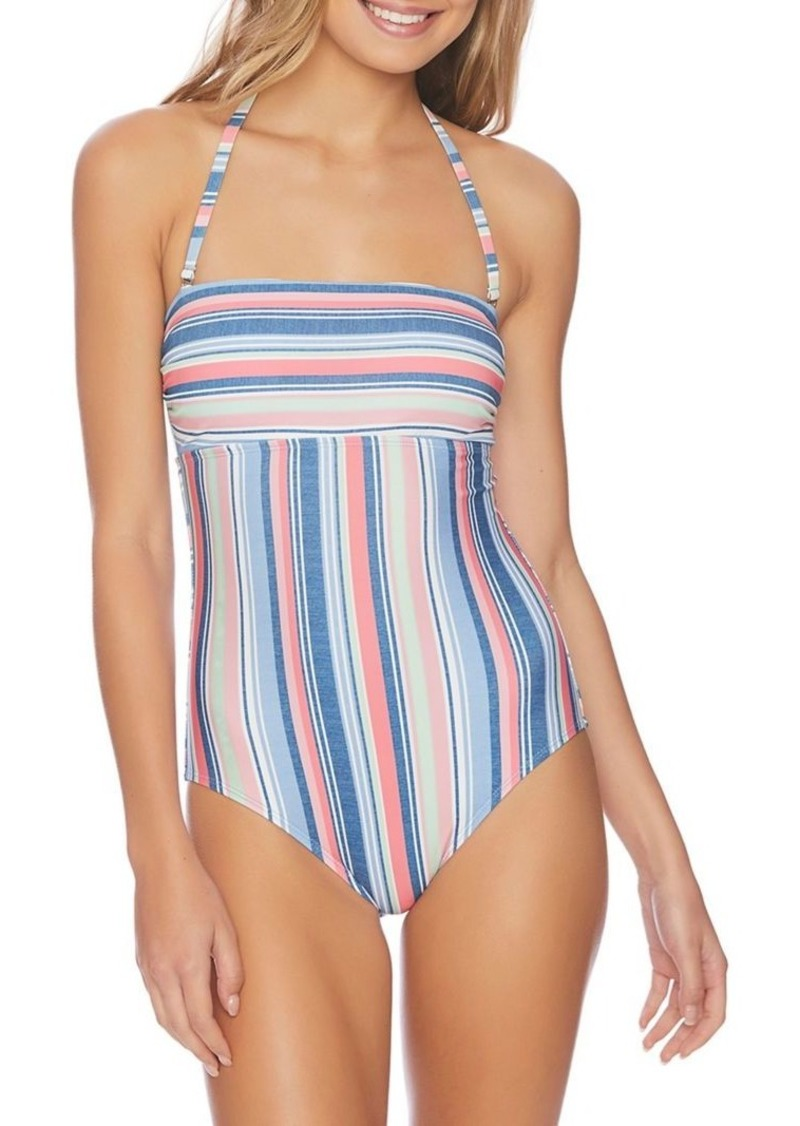 Splendid Muticolored Stripe Bandeau 1-Piece Swimsuit