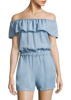Off-The-Shoulder Chambray Romper
