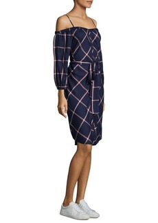 Splendid Off-the-Shoulder Checkered Dress