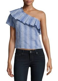 Splendid One-Shoulder Chambray Jacquard Top