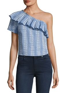 Splendid One-Shoulder Ruffle Chambray Top