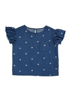 Splendid Polka-Dot Ruffle-Sleeve Top  Size 7-14