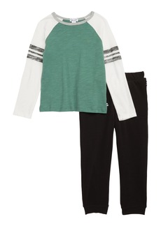Splendid Raglan T-Shirt & Jogger Pants Set (Toddler Boys & Little Boys)