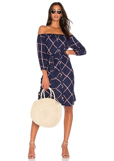 Splendid Reily Plaid Off the Shoulder Dress in Blue. - size L (also in M,S,XS)