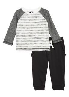 Splendid Reverse Print Raglan Shirt & Sweatpants Set (Baby)