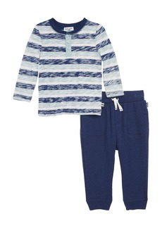 Splendid Reverse Stripe Henley & Sweatpants Set (Baby Boys)