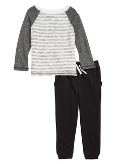 Splendid Reverse Stripe Raglan Shirt & Sweatpants Set (Toddler Boys & Little Boys)